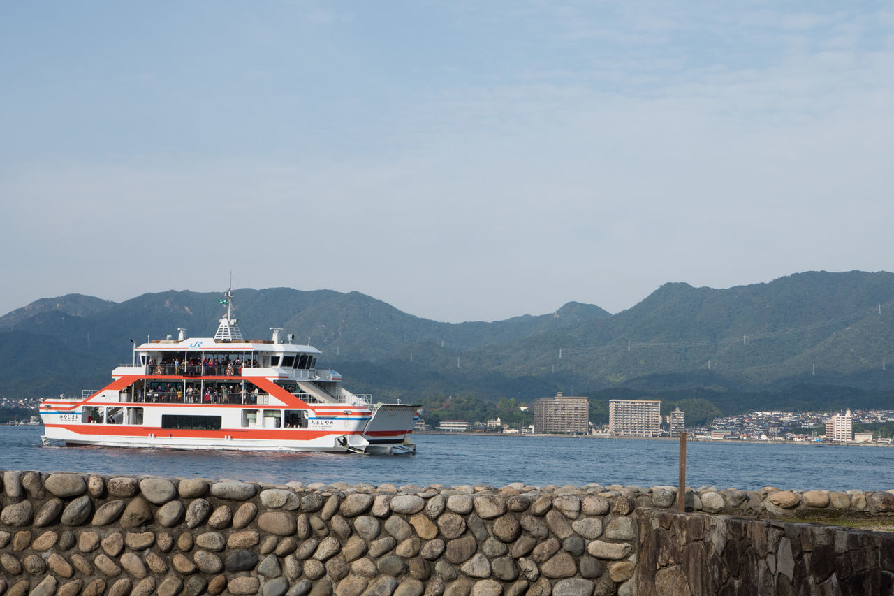 Countryside Day Ferry Harbor Hiroshima Miyajima Mountain Nautical Vessel No People Outdoors Pier Sea Sky Tranquility Transportation Travel Water