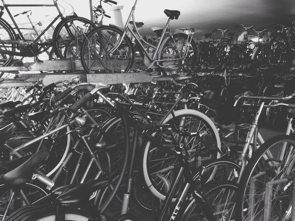Supposedly Bycicle capital of europe. Parking for 10.000 Bikes Black And White Black & White