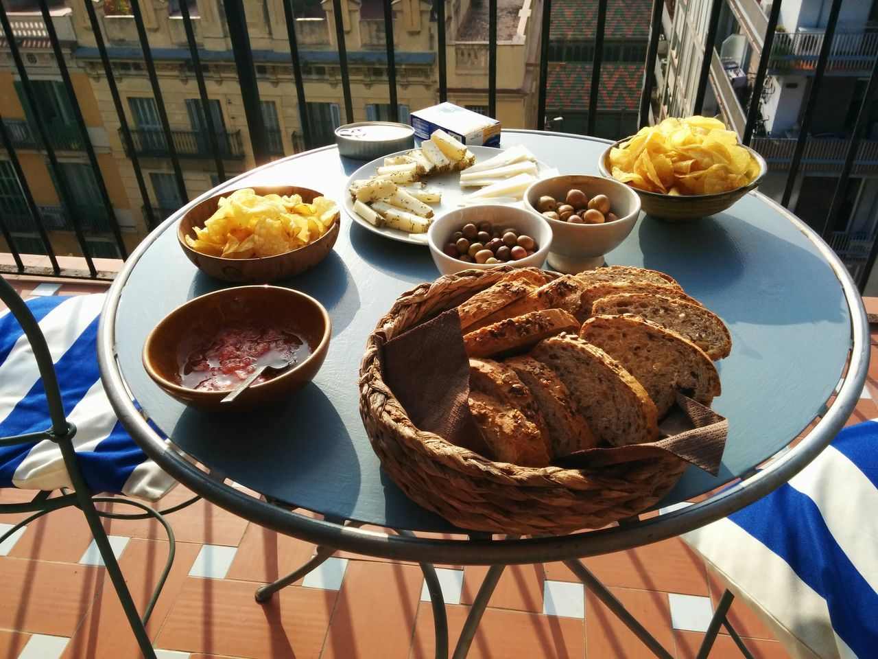 Sunny Day Outdoors Terrace Rooftop Food Aperitivo Time Starters Vermouth Tapas Barcelona, Spain