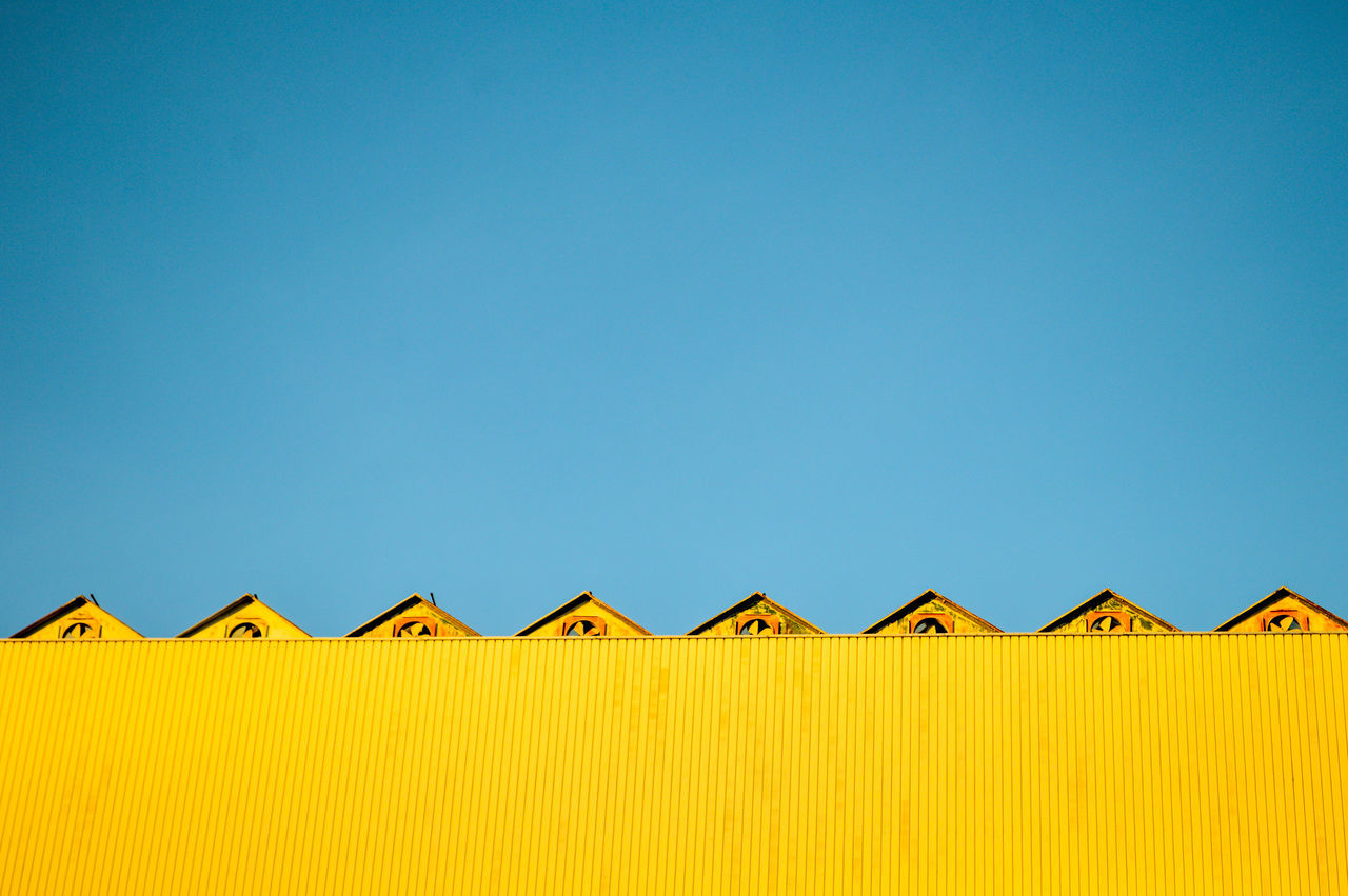 Beautiful stock photos of architecture, blue, clear sky, yellow, pattern