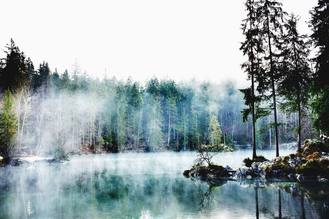 Foggy Lake View in the Mountains Alps Lake Meditative Badersee Relaxing