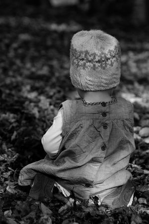 Autumn Backside Portrait Beanie Blackandwhite Children Photography Focus On Foreground Outdoors Young Child Caught In Nature Shoot