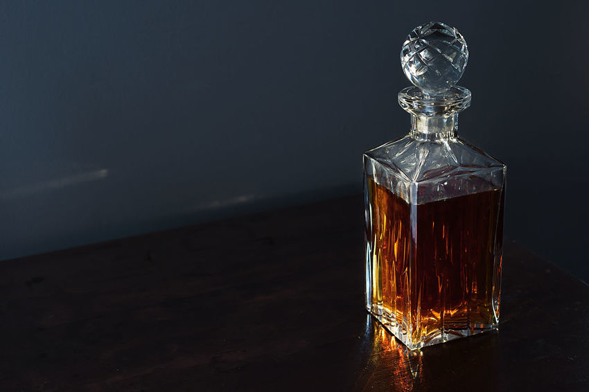Black Background Close-up Day Decanter Decanter And Glassware Freshness Indoors  No People Still Life Table Whiskey