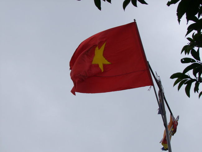 Vietnamese Flag Cloudy Sky Composition Flag Full Frame Leaves No People Outdoor Photography Red And Yellow Star Traditional Unfurled Vietnam Vietnamese Flag Yellow Star