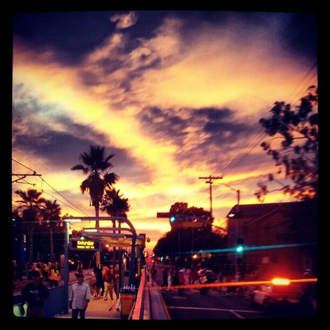 Post game Sunset . Waiting for the train. Public transportation in LA. Ftfo .Trojans Skyporn clouds sun