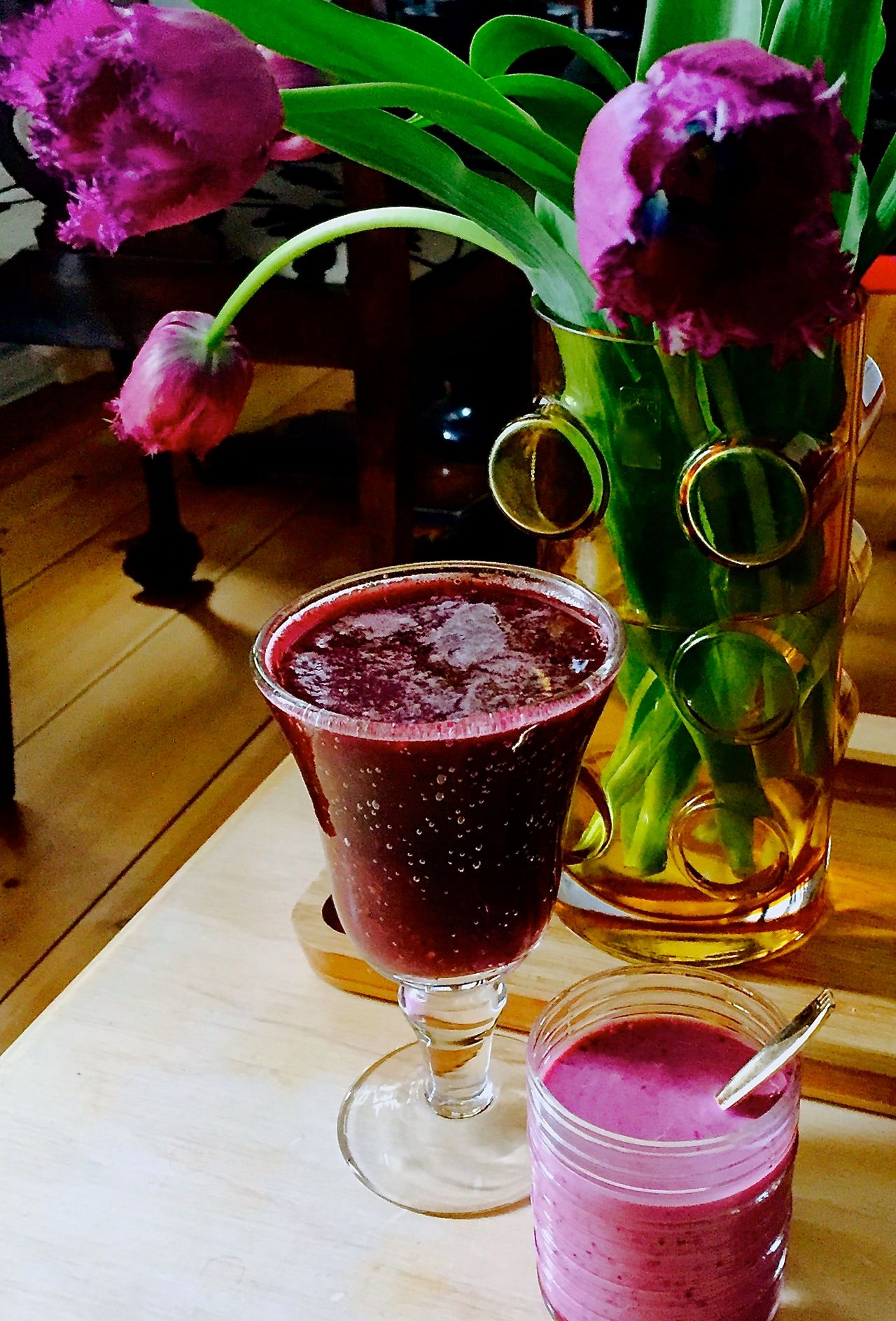 Breakfast Close-up Day Delicious Drink Drinking Glass Flower Food And Drink Freshly Made Freshness Healthy Eating Indoors  No People Organic Food Organic Juices..... Organic Lifestyle Organic Living Purple Color Purple Flower Purple Rain Ready-to-eat Refreshment Smoothies Tulips Vase