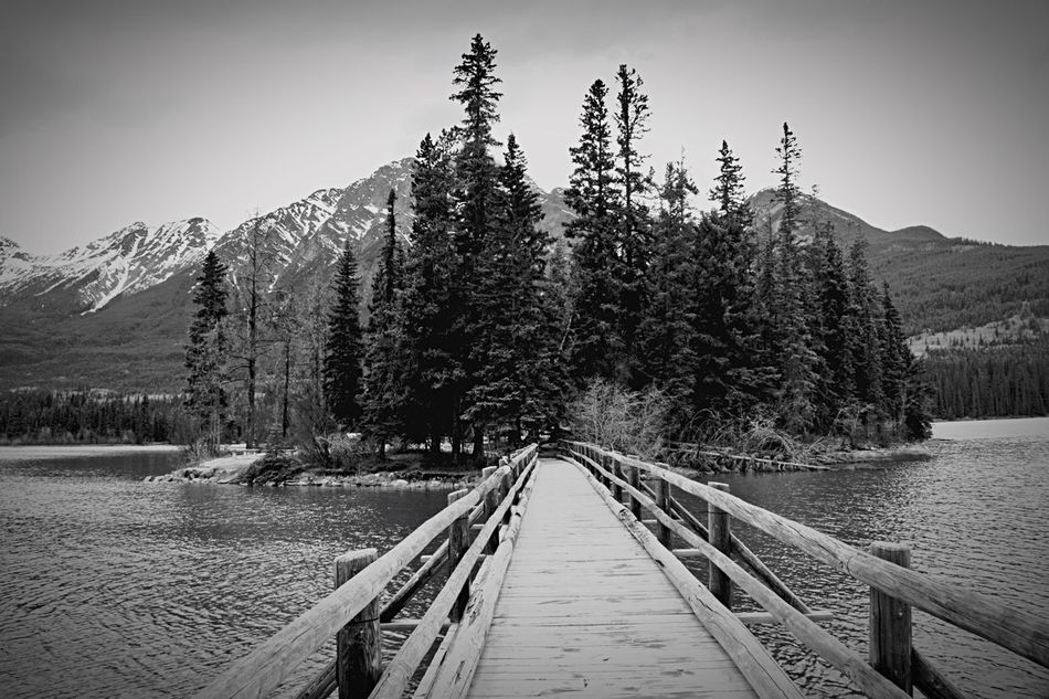 B&w Pyramid Lake Jasper Canadian Rockies  Scenic
