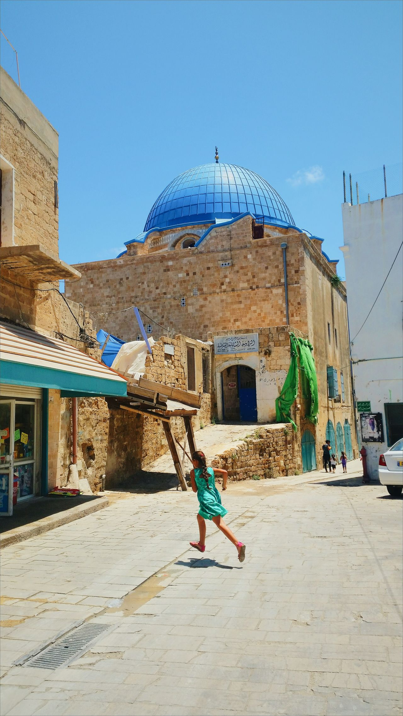 Dome Bluedome Mosque Islamic Akko Israel Akko Muslim Girl Runninggirl Running Child Colours Colors Summer Oldcity Middle East Turquoise Turkish Ottoman Architecture Arabic Architecture Arabic EyEmNewHere