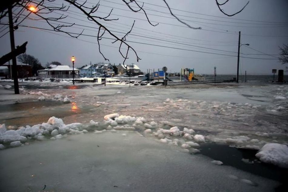 Bay Avenue, Somers Point, NJ. High tide covering Somers Point Beach.