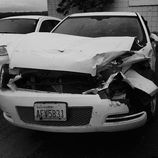 The Horror ! (Not my car by the way) Chevrolet Chevy Impala Wreck Wrecked Crashed CarInstagram Car BlackandWhite