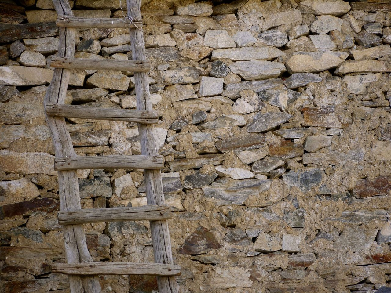 Wooden ladder against stone wall outdoors