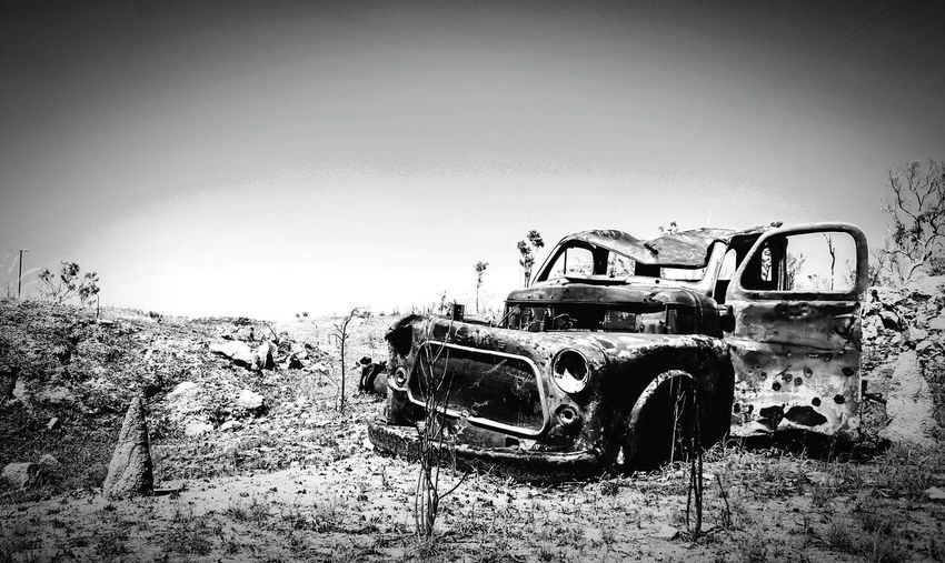 Outback Outbackaustralia Outback Life Outback Oz Rosty Car Shots Damaged Damage Damaged And Wrecked Lost In Thought... Loneliness Lonely Find a Car Desert Crash Crash Boom Bang! Highway Dodge Old Forgotten Black And White Blackandwhite Photography