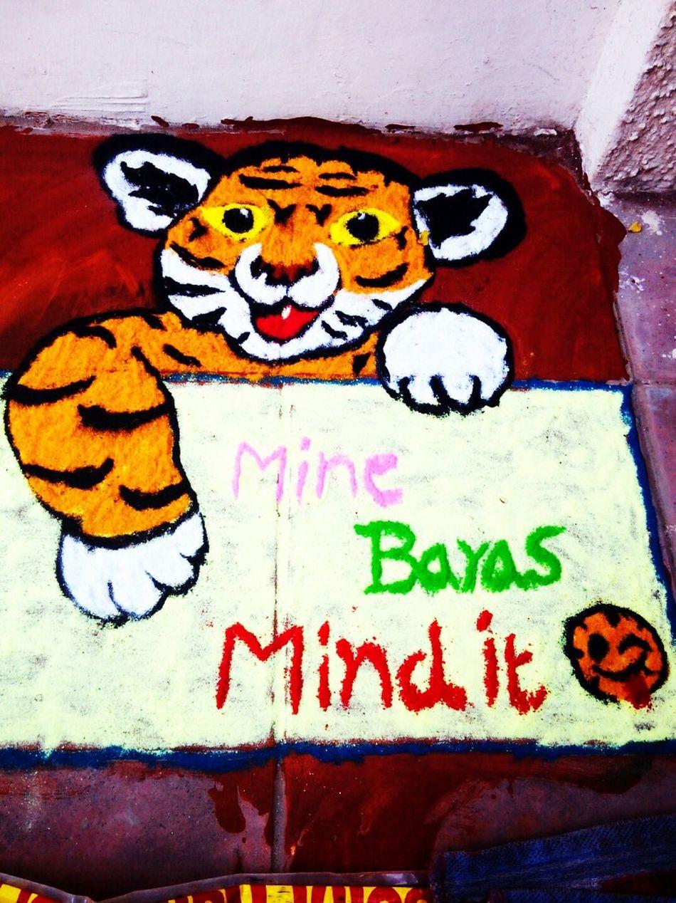 Rangolibyme Colorful Rangoli. MyRangoliArts Festive Season Diwalicelebrations Diwalitime Colorful Color Portrait Tiger Creativity