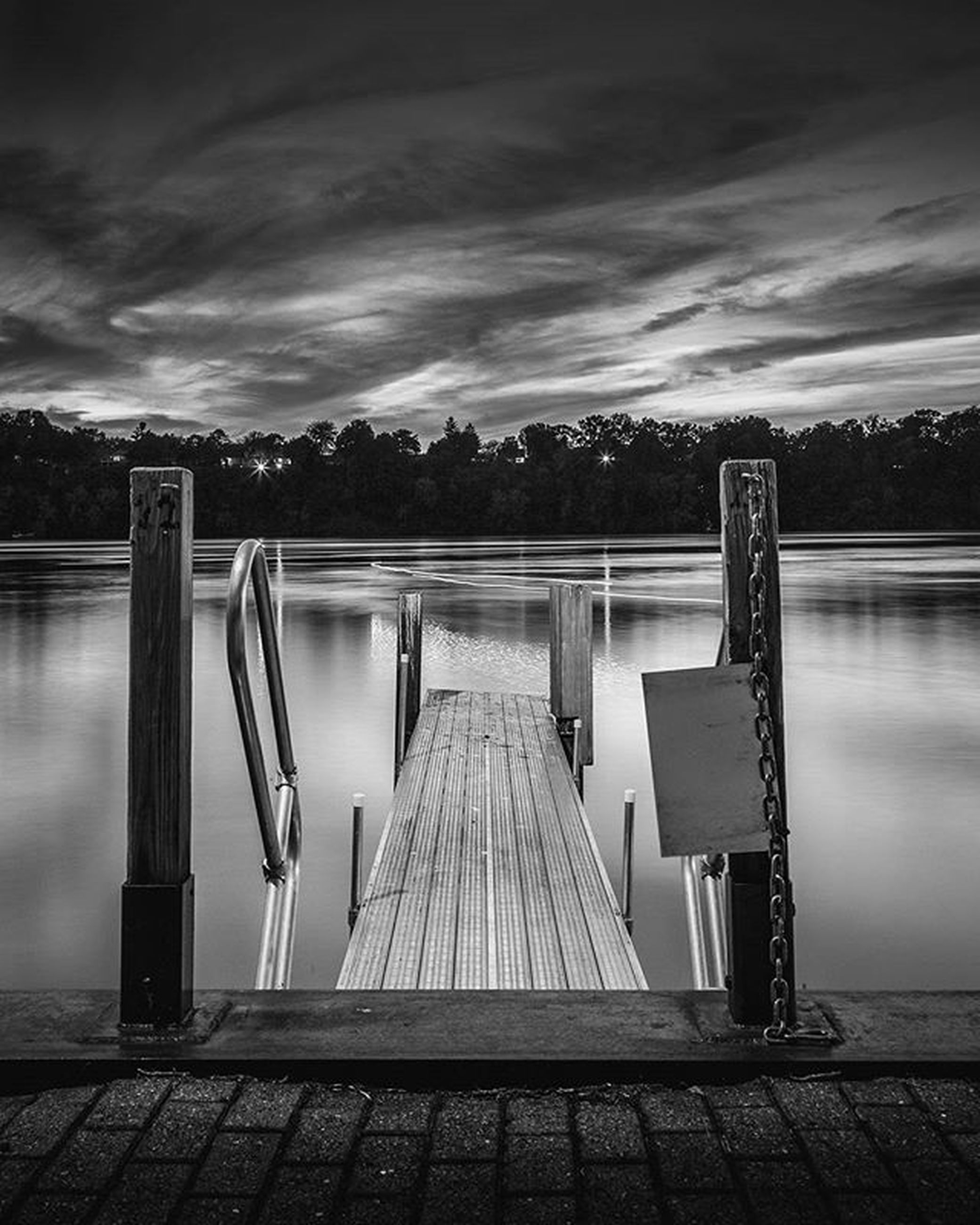 sky, cloud - sky, water, cloudy, empty, pier, tranquility, railing, lake, the way forward, cloud, absence, tranquil scene, nature, weather, built structure, wood - material, scenics, overcast, outdoors