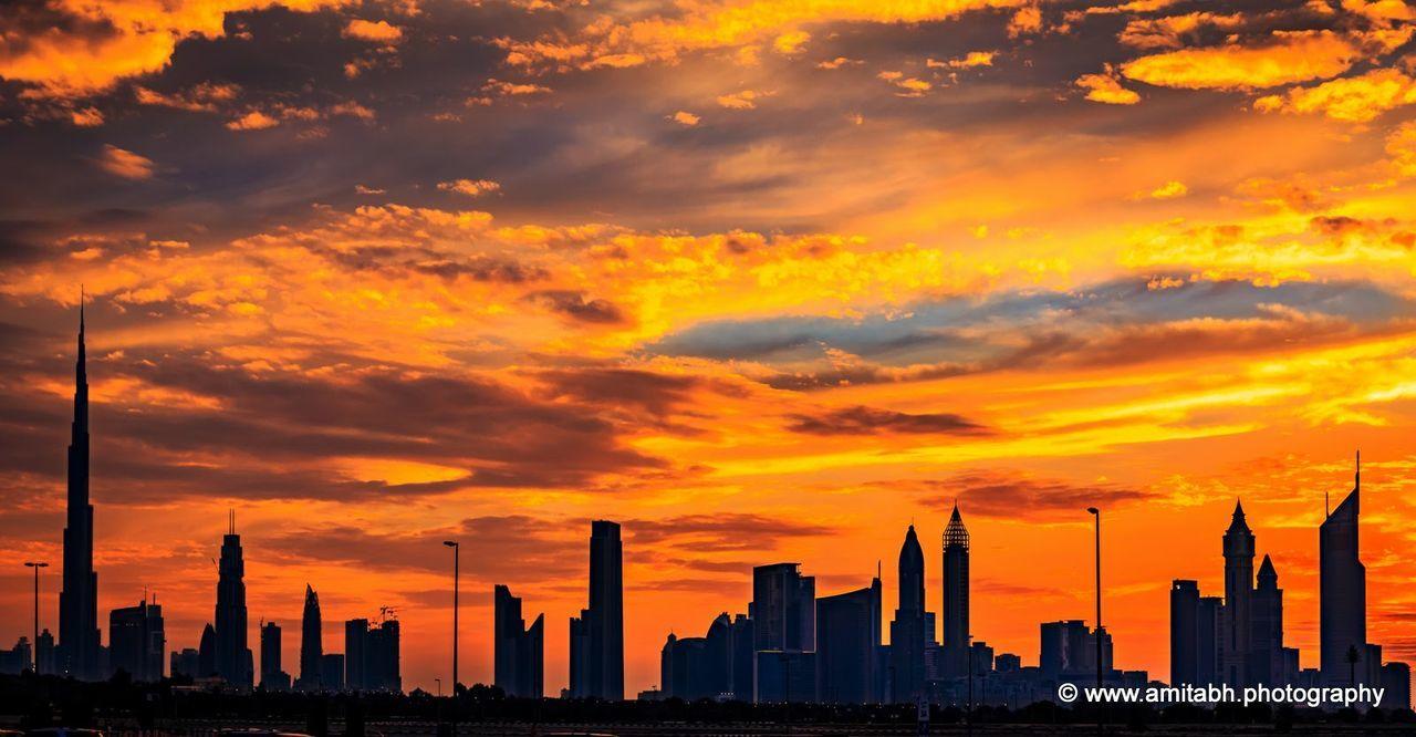 The Dubai Skyline..... Sunset Cloud - Sky Skyscraper Sky No People Urban Skyline Outdoors Cityscape Nature Architecture Day Dubaicity DXB UAE , Dubai Burj Khalifa First Eyeem Photo