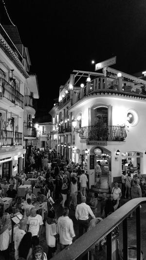 Night Illuminated Building Exterior Arts Culture And Entertainment City Large Group Of People Architecture People Nerja Nerja Beauty Nerja At Night Nerja, Malaga Nerja Night Photography Nerja Travel Destination Nerja Scenery