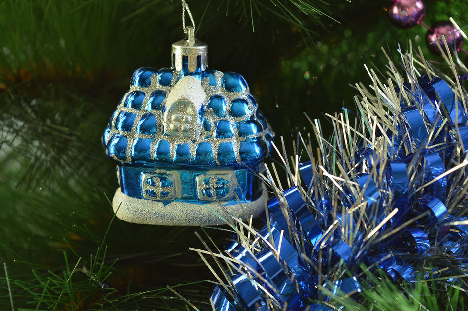 Merry Christmas and Happy New Year Beauty In Nature Blue Christmas Decorations Christmas Tree Christmastime Day Garland Gerland Grass Growth Hanging Indoors  Nature No People Tradition Tree