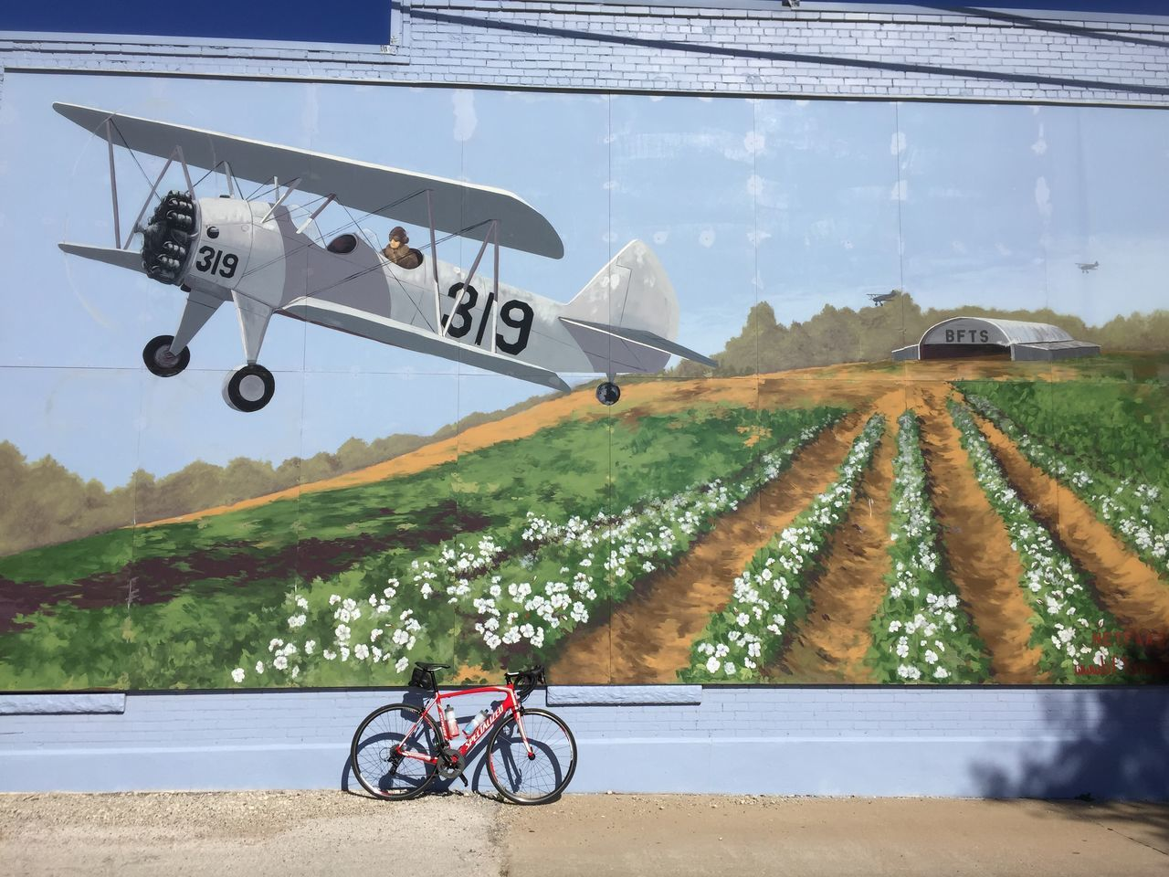 Taking the scenic route. Cyclist Bicycles Bicycle Texas Cycling Mural Mural Art