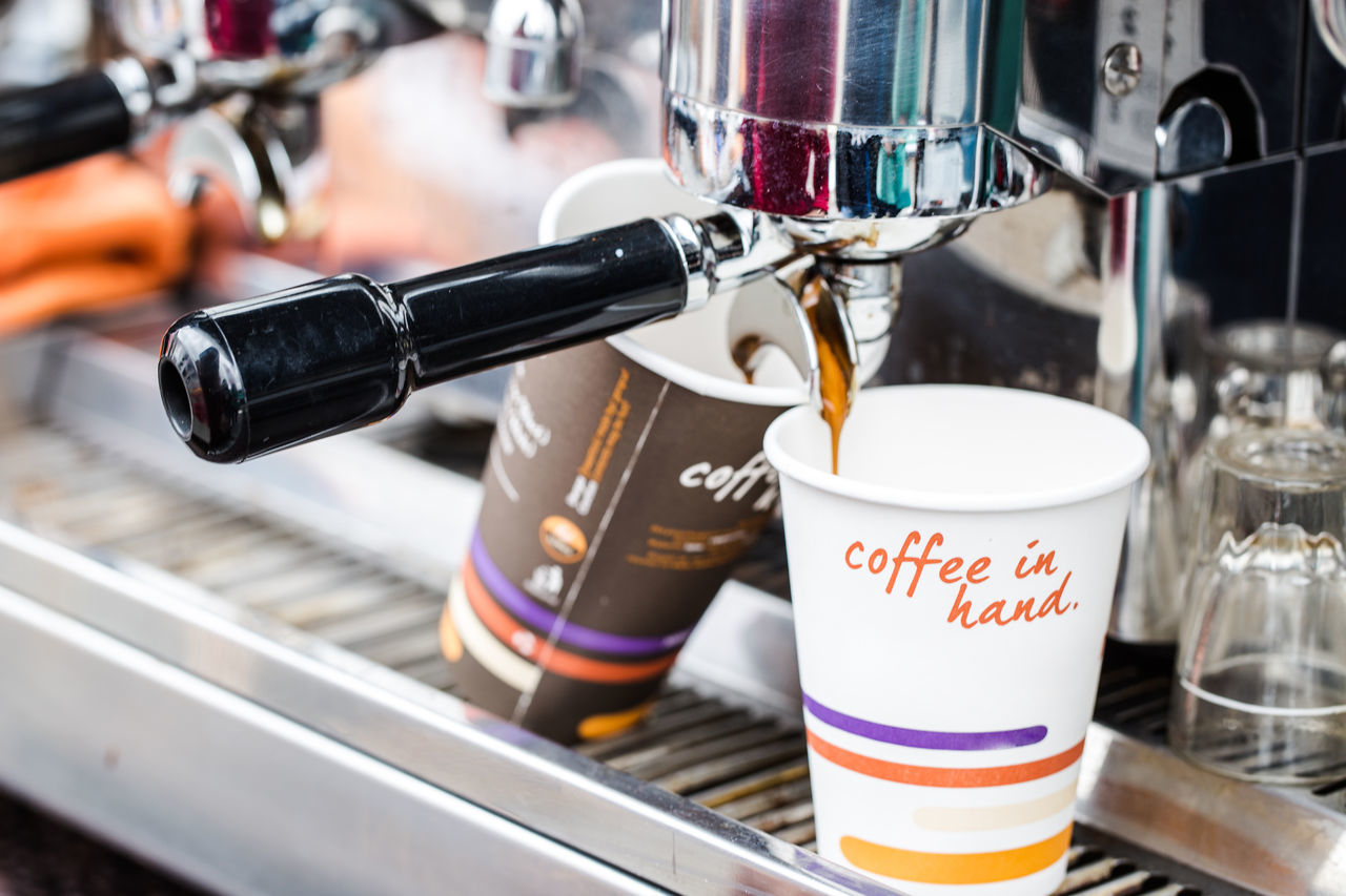 Coffee maker Aroma Bar Beverage Coffee Delicious Energy Espresso Foam Focus On Foreground Good Start Hot In Hand Keep It Blurry Machine Milk Morning Move Plastic Cup Pleasure Relax Rest Shop Take Awawy War Working