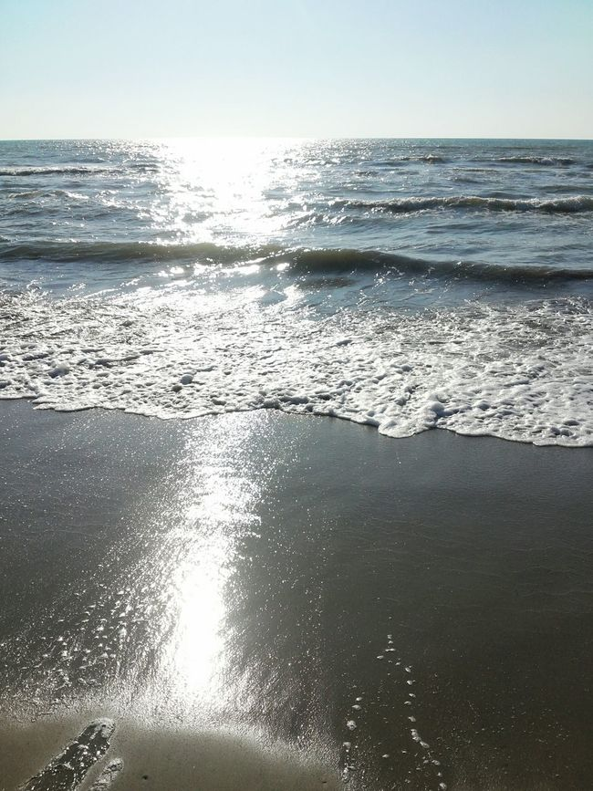 Blue Wave Sea Sunshine Reflection Water Sand Perspective Sky Durres Albania
