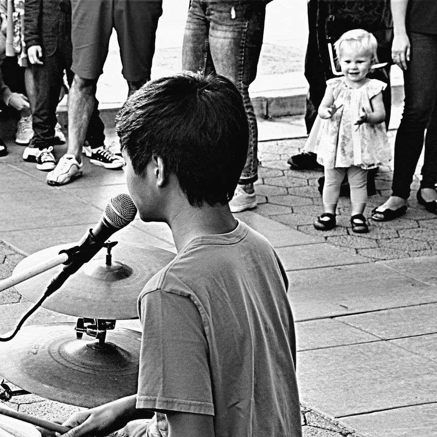 Drummer Boy Singing For A Fan Music Childhood Real People Street Photography Performance Black And White EyeEm Gallery EyeEm Best Shots The Week On EyeEm