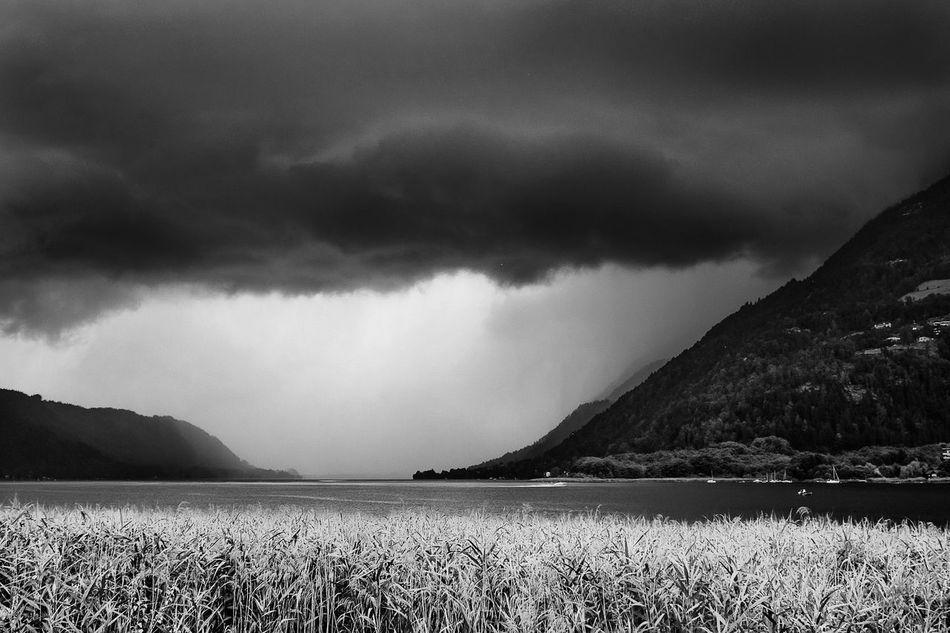 Storm Blackandwhite Cloud Cloud - Sky Fine Art Photography Ossiacher See Overcast Rain Sky Storm Cloud Storm Clouds Stormy Sky Water Weather