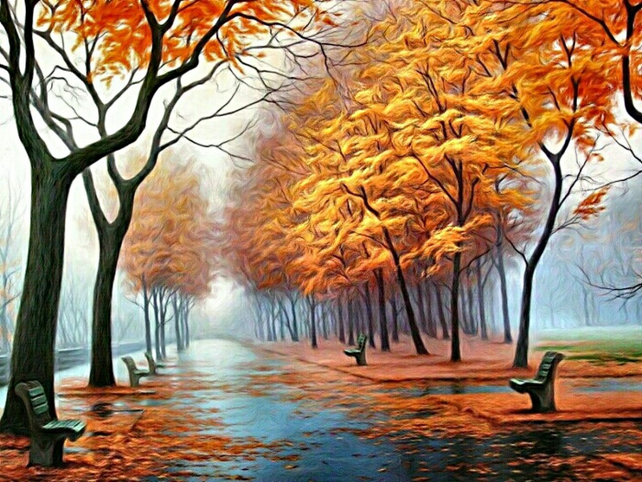 Herbstmelodie . Oil on canvas 80 x 100 cm . 2015 Art Painting Trees Park Autumn Fog