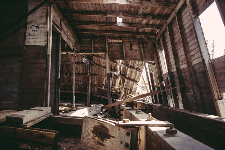 Abandoned Architecture Attic Bad Condition Built Structure Canada Dawson Dawson City  Day Indoors  No People Old Shipwreck Sunlight Wood - Material Yukon