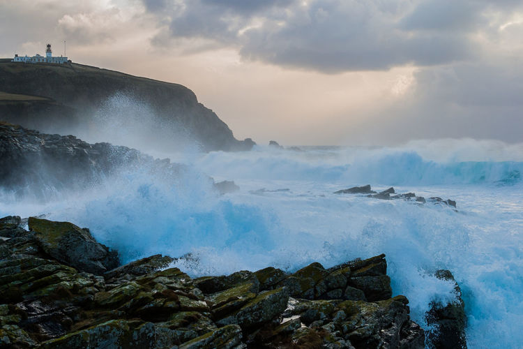 Stormy seas at Sumburgh Head Beauty In Nature Cloud - Sky Geology Motion Outdoors Physical Geography Power In Nature Scenics Sea Shetland Splashing Storm Sumburgh Head Shetland Travel Destinations Water Winter