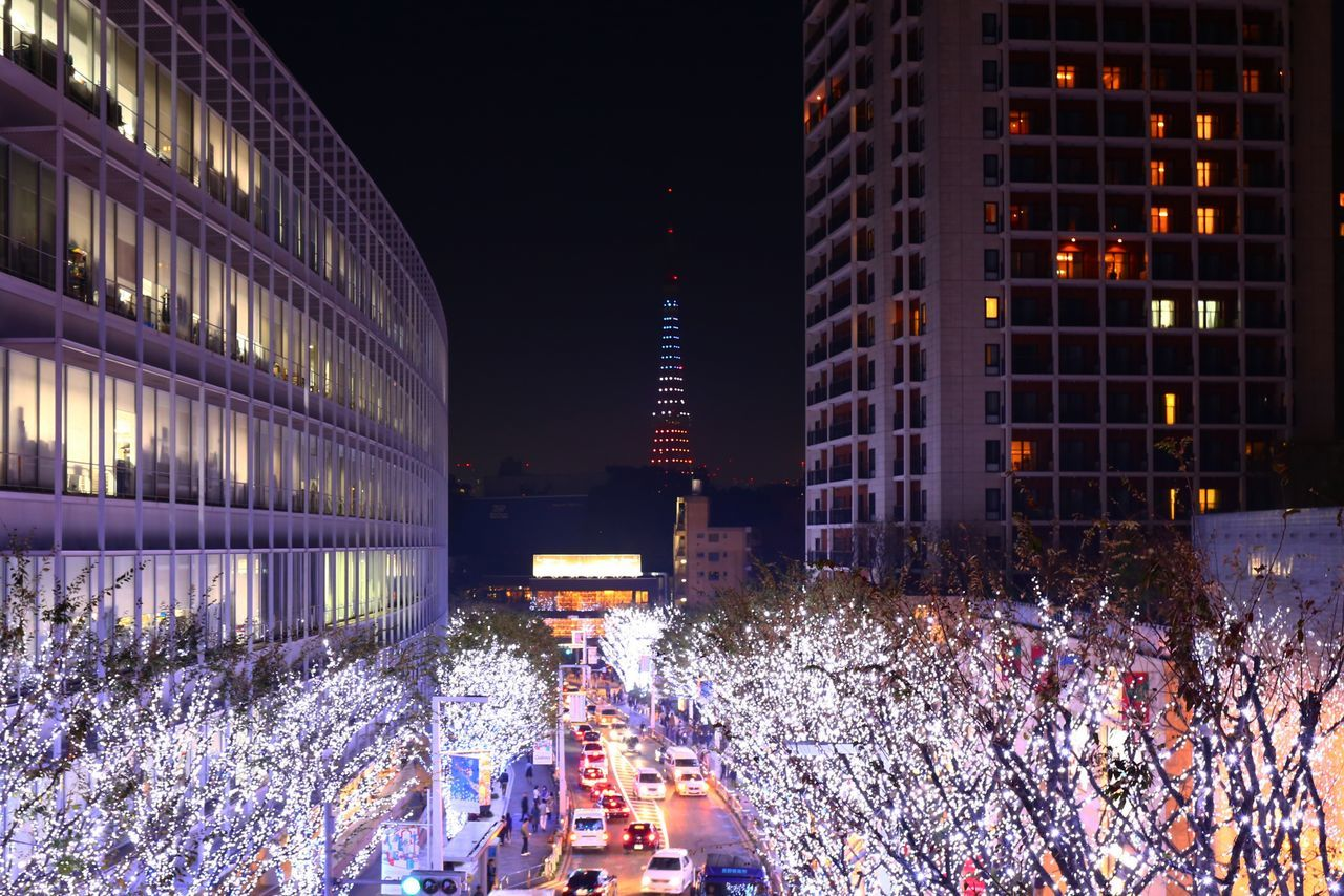 2015  Architecture Building Building Exterior City Cristmas Illuminated Japan Night Road Roppongi Skyscraper Street Tokyo Tokyo Tower Tower Tree イルミネーション 東京タワー Blue White
