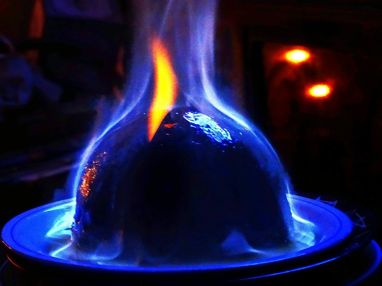 Christmas pudding. Close-up Blue Heat - Temperature Science Flame Burning Indoors  Black Background Xmas Christmas Christmas Pudding Plumb Pudding Flambe Flaming Flame Flame And Food Flames & Fire Festive Festive Feast Christmas Dinner Xmas Dinner Christmas Lunch Xmas Lunch Alight Alightinthedark