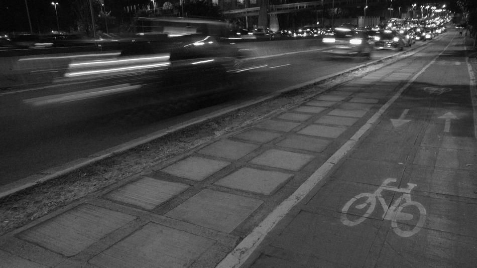 ezefer Bike Bike Lane City City Life City Street Diminishing Perspective Empty Illuminated Land Vehicle Mode Of Transport Night No People Outdoors Road Road Marking The Street Photographer - 2016 EyeEm Awards The Way Forward Transportation