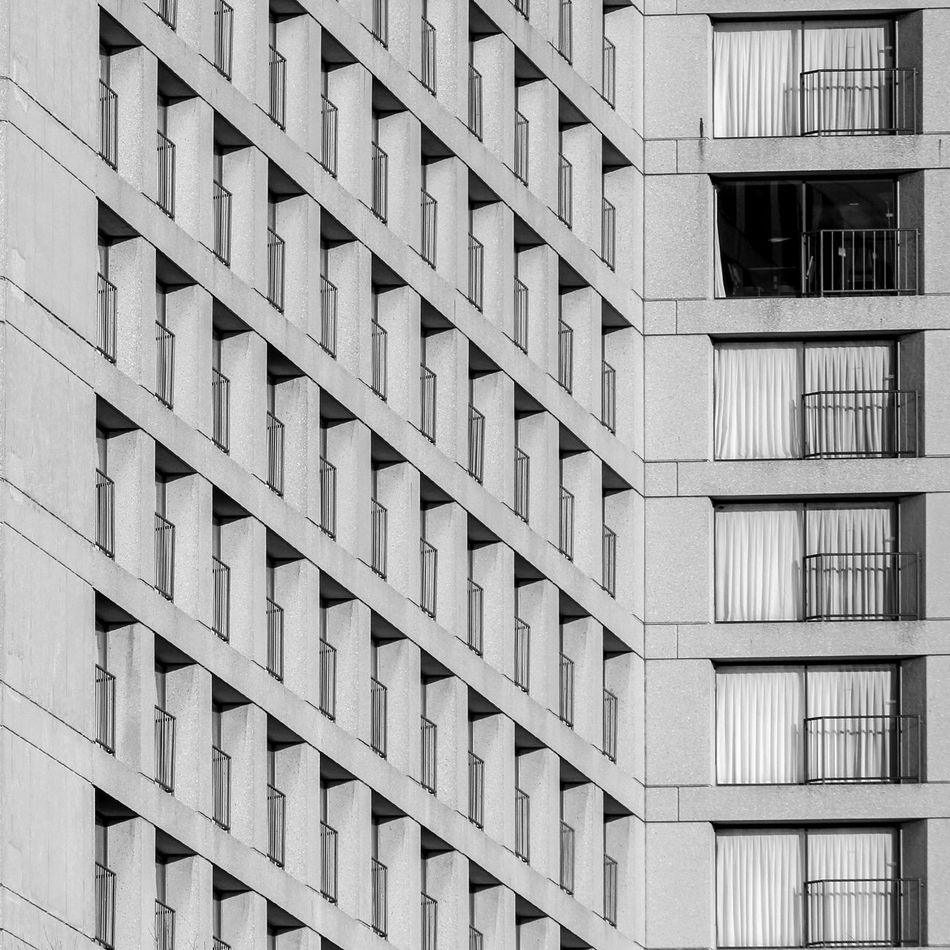 Architecture Backgrounds Balcony Blackandwhite Building Exterior Built Structure City Composition Day Minimalism No People Outdoors Pattern Repetition Welcome To Black The Secret Spaces Break The Mold