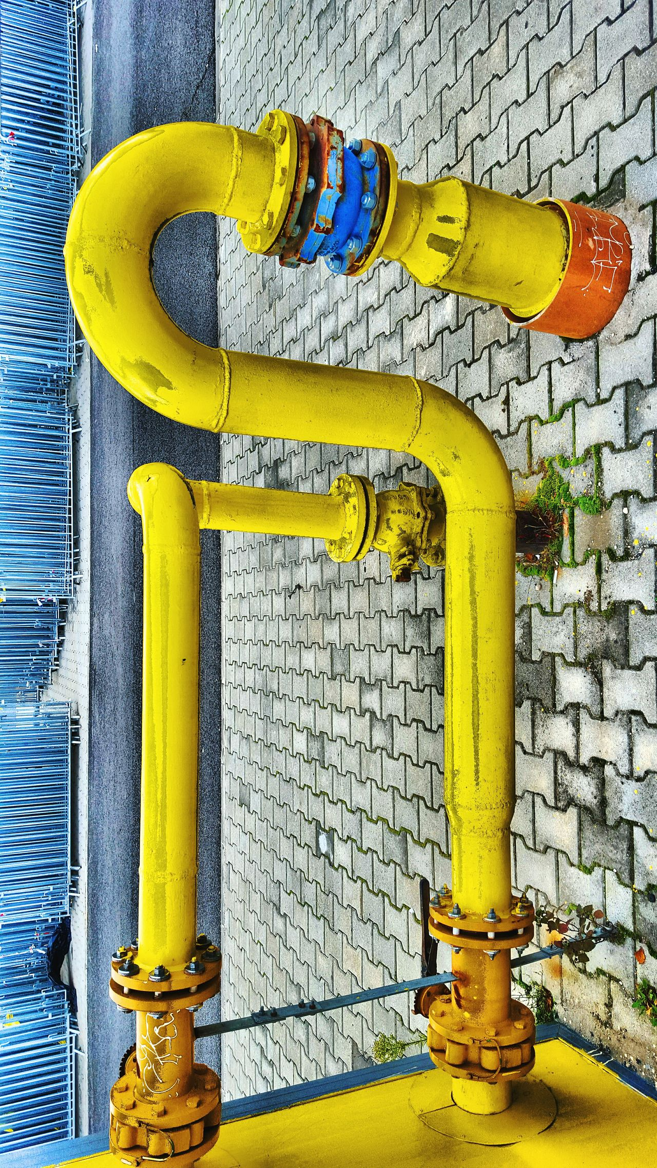 Yellow No People Close-up Outdoors Gas Day Pipes Pipe - Tube