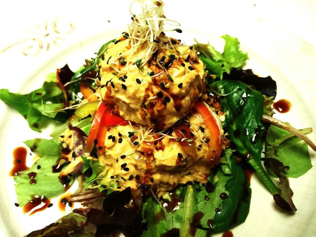 EatMe❕❕ Bourbon&branch BangOutBlanc Cheflifecold curried chicken salad-salad with basil chiffonade, alfalfa sprouts, pickled carrot and fresh ginger/ sesame vinaigrette Not To Be Taken Lightly