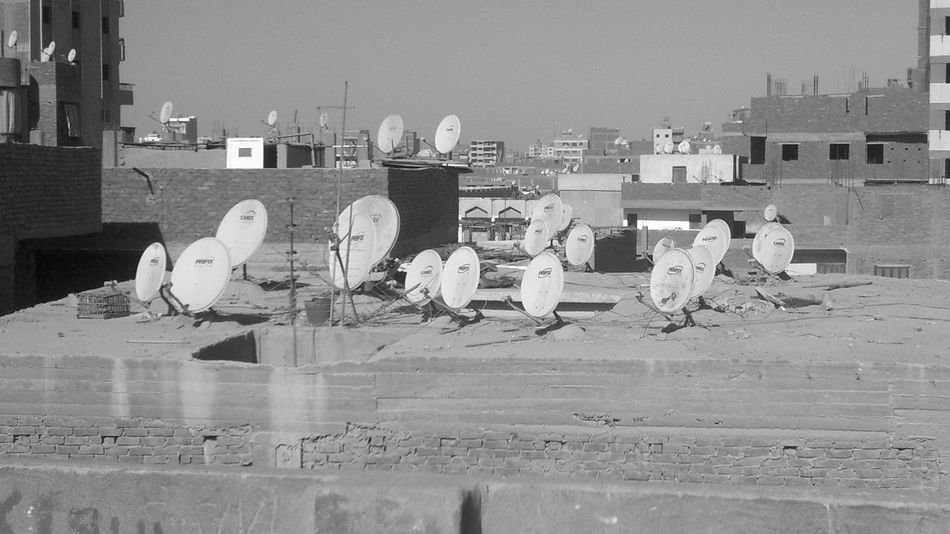 Black And White Buildings City Day No People Outdoors Satalite Dishes Sunny Day 🌞