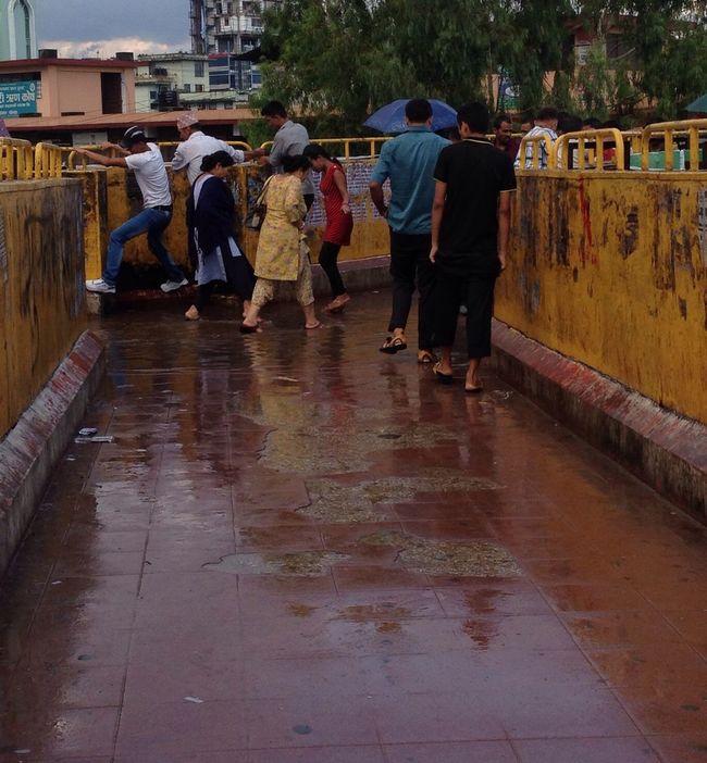 Rainy day...damp sky bridge...don't wanna get your foot wet... Floortraits First Eyeem Photo