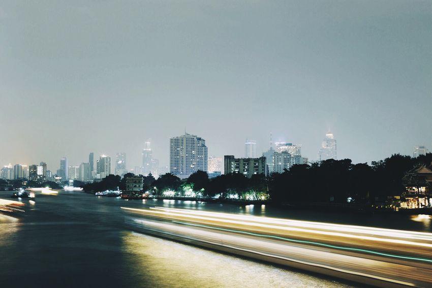 Night Night Lights Long Exposure Thailand Chaophraya River Bangkok Urban City Cityscapes