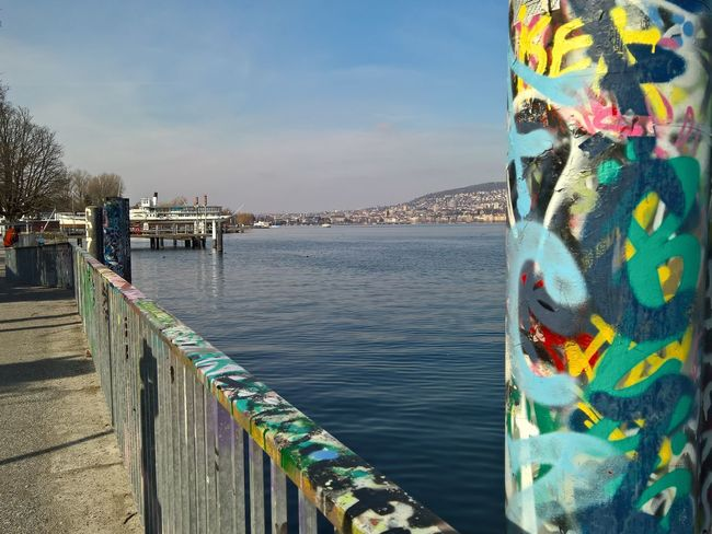 Art And Craft City Life Creativity Culture Zürich Zurich, Switzerland Lake Of Zurich Water Waterfront Horizon Over Water Colors Colorful Graffiti Street Art Rote Fabrik Pier Crane Streetphotography The Great Outdoors With Adobe The Architect - 2016 EyeEm Awards