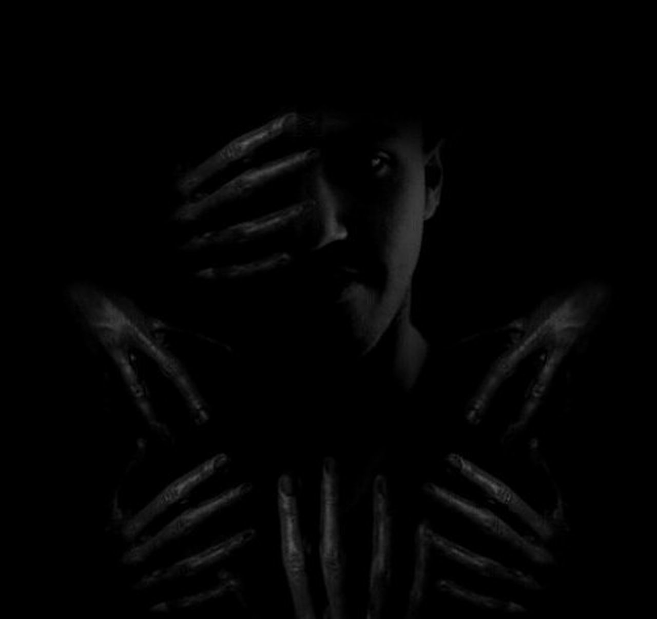 """"""" don't depends too much . anyone in this world . because even your shadow . leaves you . when your in darkness """" Black And White Bnwportrait Digitalart  Portrait Beauty Redefined Art Face Darkside Darkart Art, Drawing, Creativity Empty Space"""