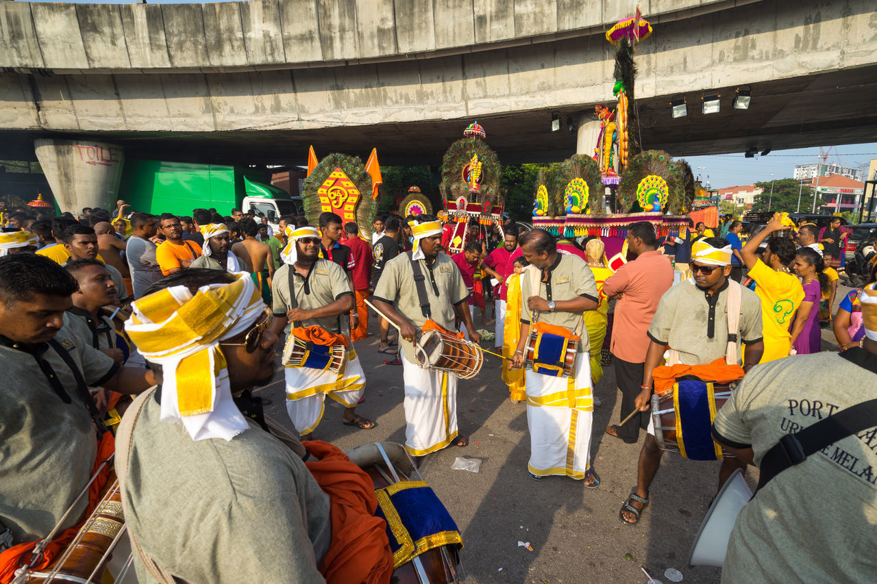 BATU CAVES, MALAYSIA - 9TH FEBRUARY 2017; Hindu devotees performing a pray session during Thaipusam festival in Batu Caves temple, celebrating Lord Murugan victory over the demon Soorapadman. Adult Arts Culture And Entertainment Batu Caves -Malaysia Fan - Enthusiast Hinduism Leisure Activity Outdoors People Thaipusam 2017