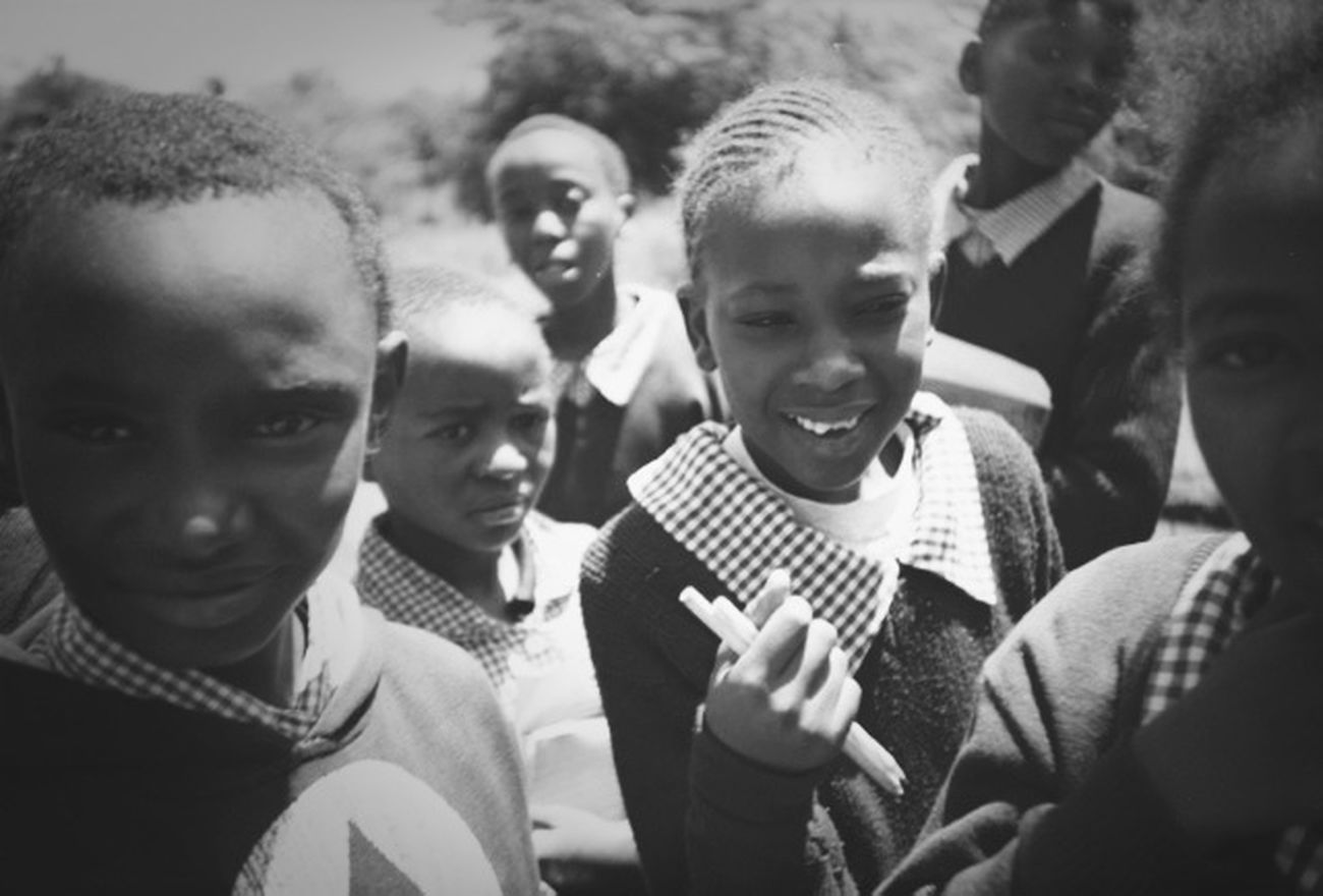 Finding The Next Vivian Maier .children on a school visit to elephant orphanage near Nairobi
