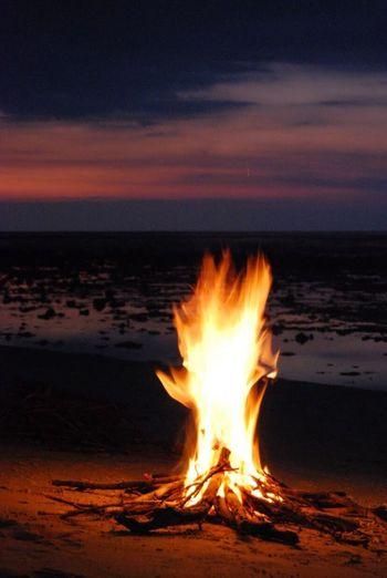 Sunset Flame Burning Scenics Beach