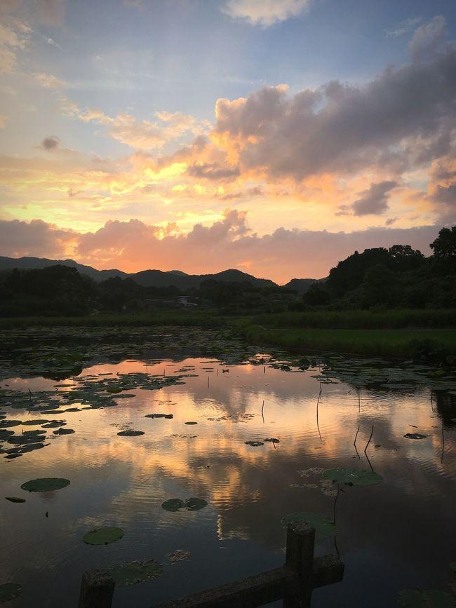 Water Sunset Reflection Tranquil Scene Lake Beauty In Nature Non-urban Scene Sky Nature Cloud Landscape Majestic IPhoneography IPhone Awajishima Hyogo 淡路島