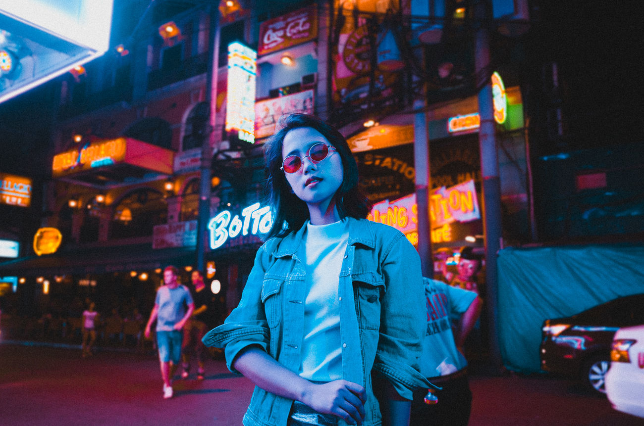 Blue Cyan EyeEm Best Edits EyeEm Best Shots Eyeem Philippines Lights Makati City Neon Nightlife Philippines Portrait Portrait Of A Woman Street Woman Color Portrait People EyeEmBestPics Embrace Urban Life Portraits Women Colors