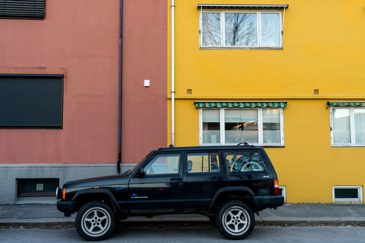 3 Architecture Building Building Exterior Built Structure Car City Day Land Vehicle Mode Of Transport No People Norway Norway🇳🇴 Outdoors Stationary Transportation Window Yellow
