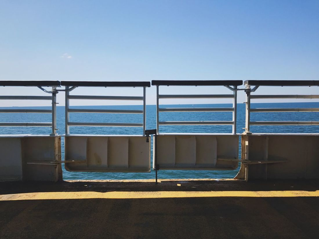 Sea Water Clear Sky No People Outdoors Transportation Day Blue Nature Railing Ferry Sky Sailing Horizon Over Water