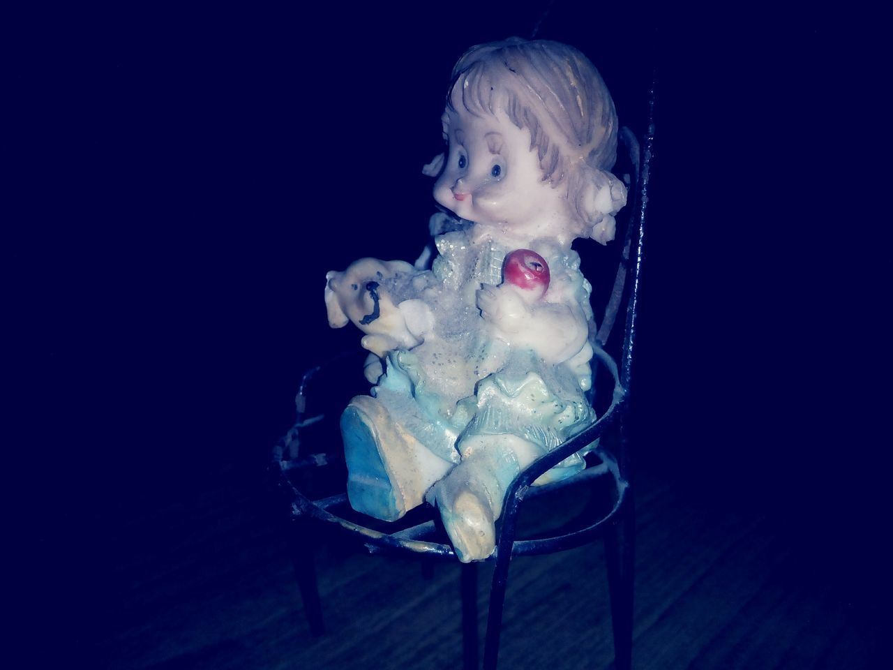 chair, doll, indoors, one person, childhood, night, close-up, people