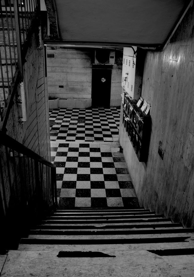 Absence Architecture Black And White Chessboard Pattern Empty Entrance Narrow No People Old Buildings Staircase Stairs Walkway