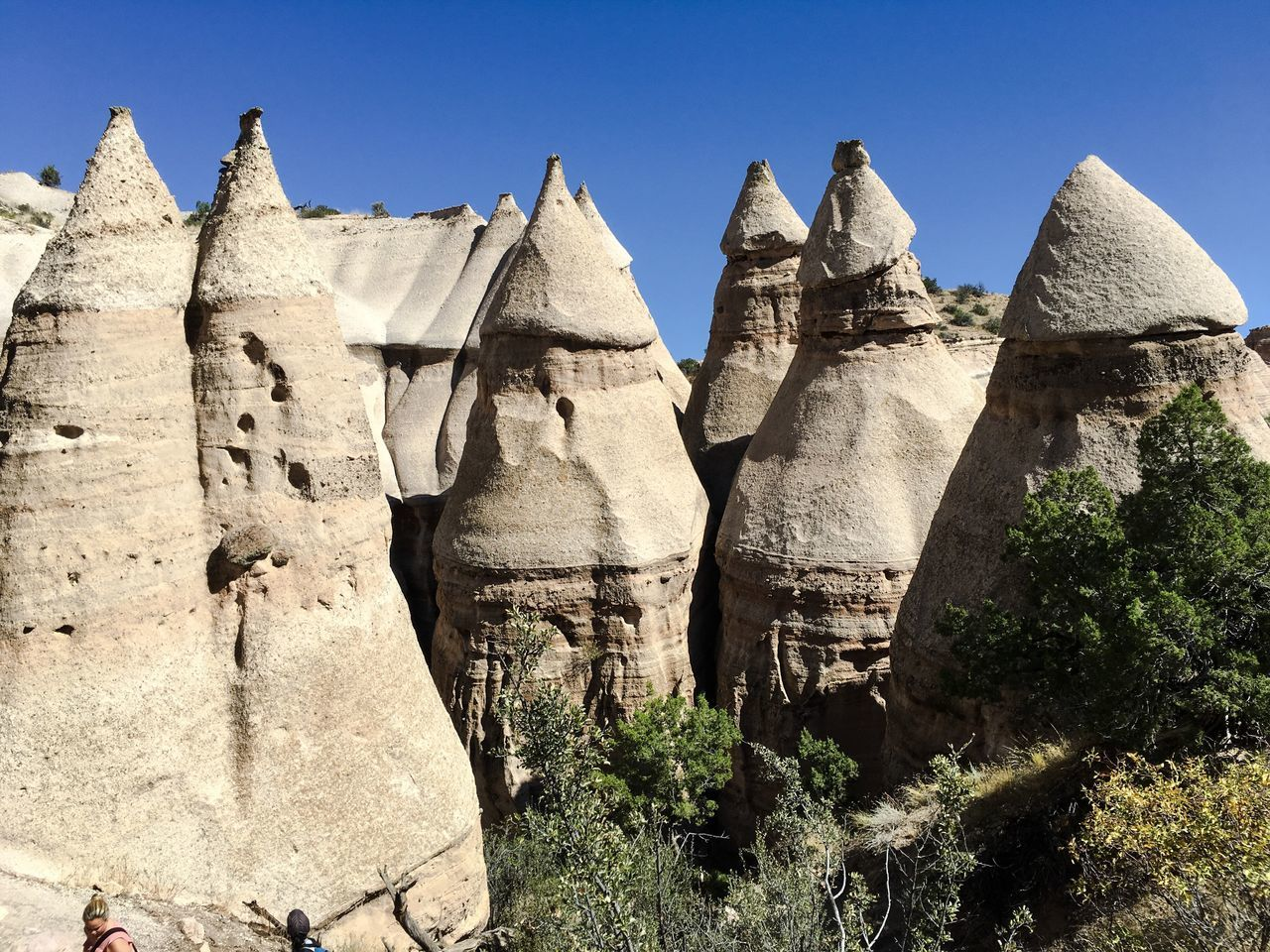 Clear Sky History Stone Material Blue The Past Ancient Day Ancient Civilization Outdoors Past TakeoverContrast Archaeology No People Green Tranquility Weathered Archeology Kasha-Katuwe Tent Rocks National Monument USA Tourism Sandstone Beauty In Nature Nature Physical Geography Miles Away